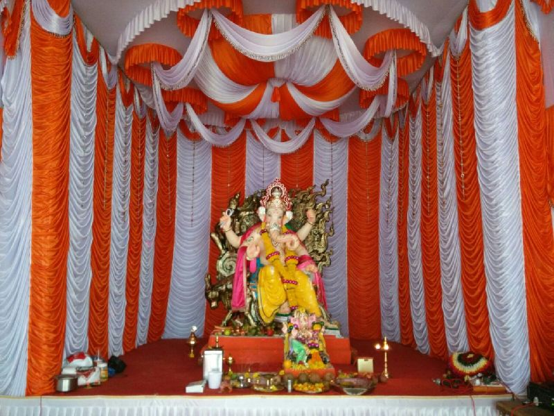 Ganpati Home Decoration With Curtains Image Collections Simple Pandal Design And Decoration