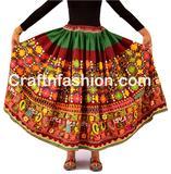 Navratri Skirt Dandiya Dance Wear Dress Boho Gamthi Top Hand Embroidery Mirror Work Combo of Vintage Kutch Skirt /& Backless Blouse