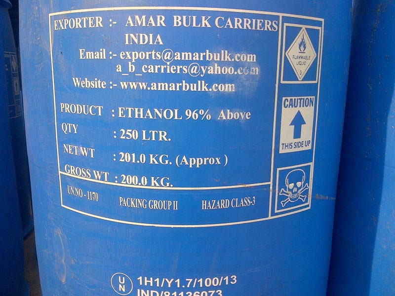 Buy Ethyl Alcohol / Ethanol 96 % & Above from Amar Bulk