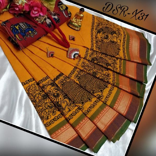 8cf2733d61 cotton printed chettinad sarees with kalamkari blouse price- rs880 each  including running blouse no