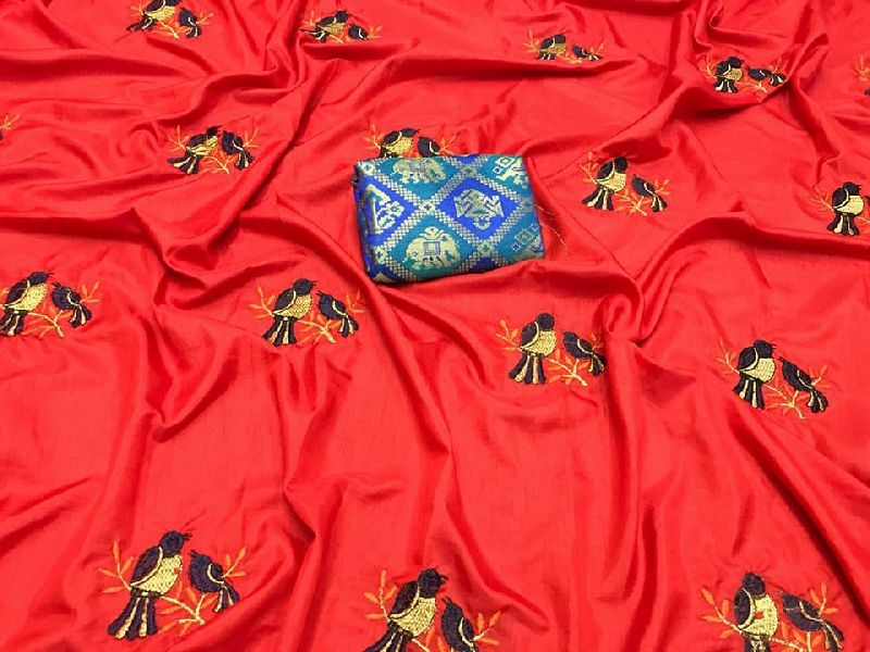 2 tone sana silk embroidery sarees with designer blouse
