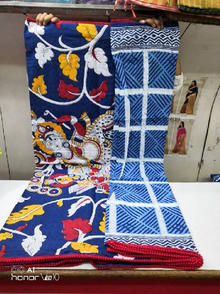 Bagru block print sarees with pompoms