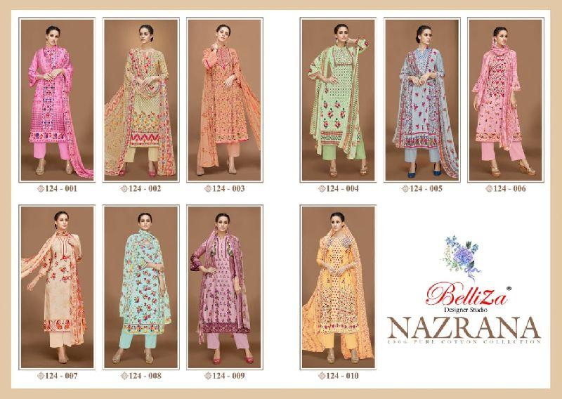 belliza nazrana vol4 premium cotton lawn printed suits