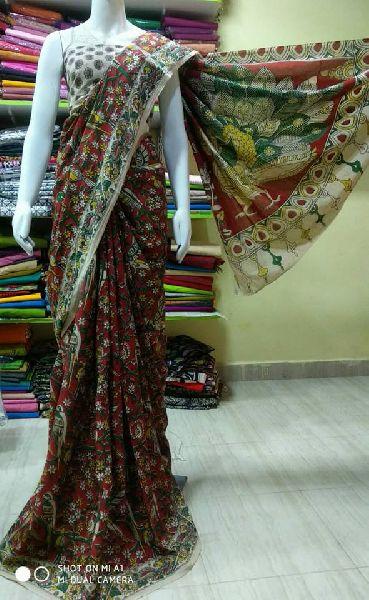 Cotton kalamkari sarees with contrast blouse