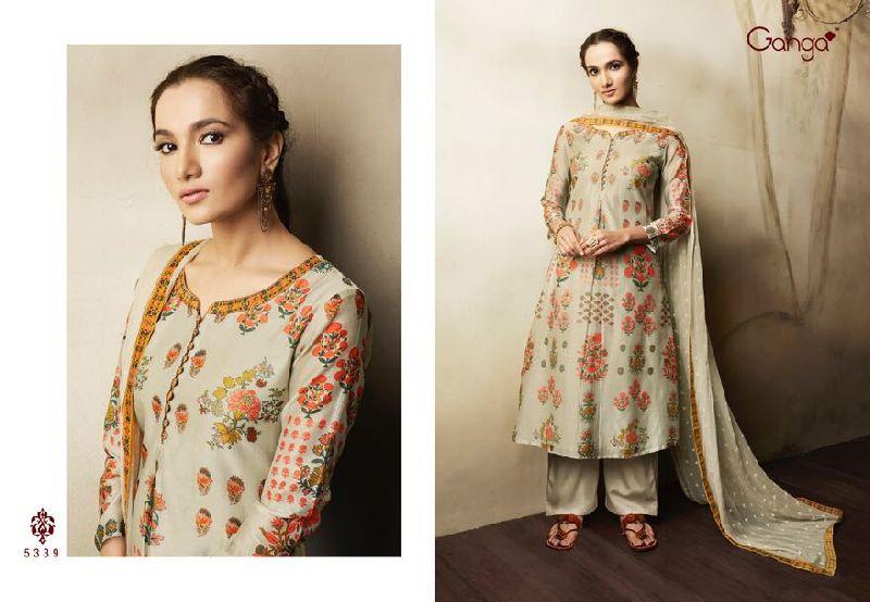 ganga eliza cotton lawn printed work suits