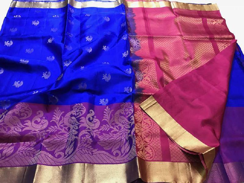 kanchi gadwal pattu sarees with meenakari weaving border