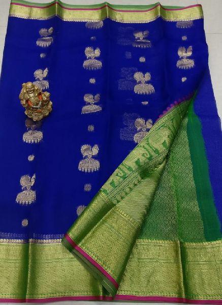 Kanchi organza sarees with brocade blouse