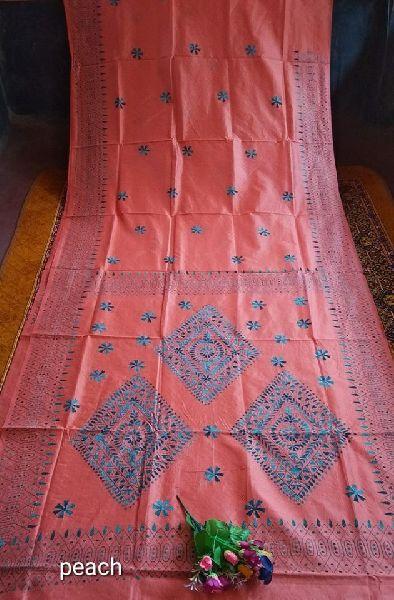 Katha Stitch on Assam silk sarees with blouse piece