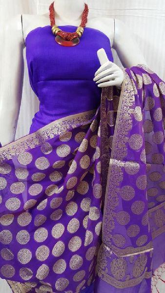 kota silk salwar suit materials with banarasi weaving dupatta