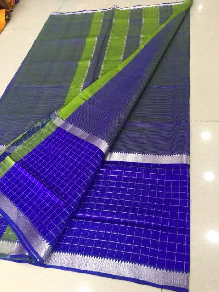 Mangalagiri Handloom Silver Cotton silk Sarees with blouse