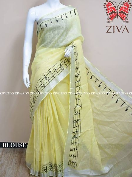 Pure Linen by Linen sarees with blouse piece
