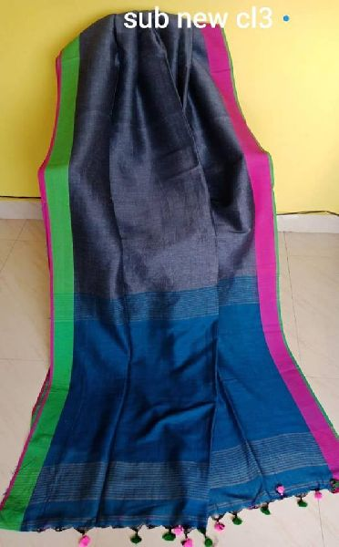 pure linen sarees with cotton pallu and blouse piece