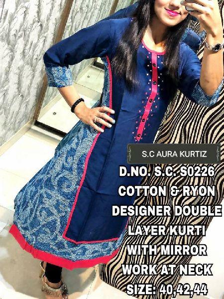 SC aura designer cotton rayon kurtis