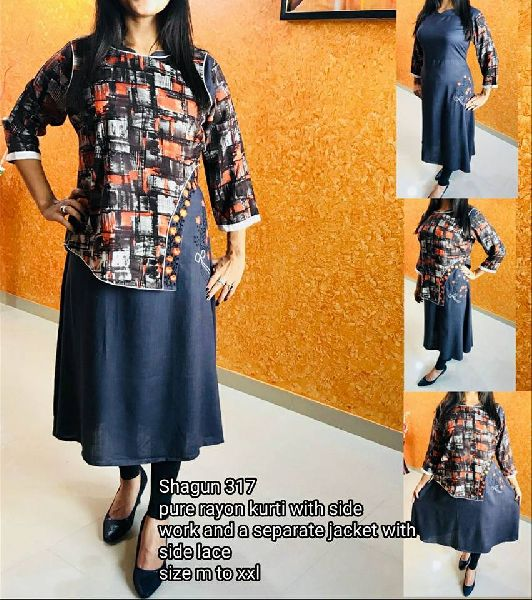shagun designer cotton  rayon kurtis