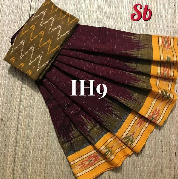soft ikkat hand woven sarees with ikkat blouse