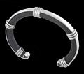 Leather Cuff Silver Bracelet