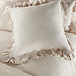 AVA EURO PILLOW SHAM WITH FRAYED RUFFLE IN CREAM