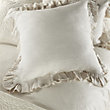 AVA EURO PILLOW SHAM WITH FRAYED RUFFLE IN WHITE