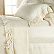 AVA FRAYED RUFFLE CREAM QUEEN SHEET SET