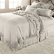 AVA FULL/QUEEN DUVET COVER WITH FRAYED RUFFLE IN FAWN