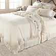 AVA KING DUVET COVER WITH FRAYED RUFFLE IN CREAM