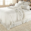 AVA KING DUVET COVER WITH FRAYED RUFFLE IN WHITE`