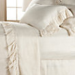 AVA KING FLAT SHEET WITH FRAYED RUFFLE IN CREAM