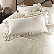 AVA KING PILLOW SHAM WITH FRAYED RUFFLE IN CREAM
