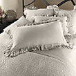 AVA KING PILLOW SHAM WITH FRAYED RUFFLE IN FAWN