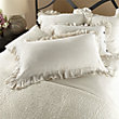 AVA KING PILLOW SHAM WITH FRAYED RUFFLE IN WHITE