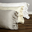 AVA KING PILLOWCASE WITH FRAYED RUFFLE IN WHITE