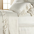 AVA QUEEN FLAT SHEET WITH FRAYED RUFFLE IN WHITE