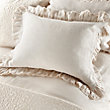 AVA STANDARD PILLOW SHAM WITH FRAYED RUFFLE IN CREAM