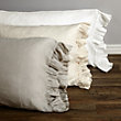 AVA STANDARD PILLOWCASE WITH FRAYED RUFFLE IN CREAM