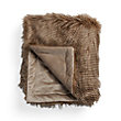FAUX FUR BROWN FEATHER THROW