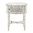 Merle Caned End Table In White