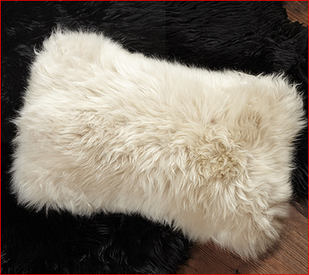 Sheepskin Rectangle Pillow in Cream