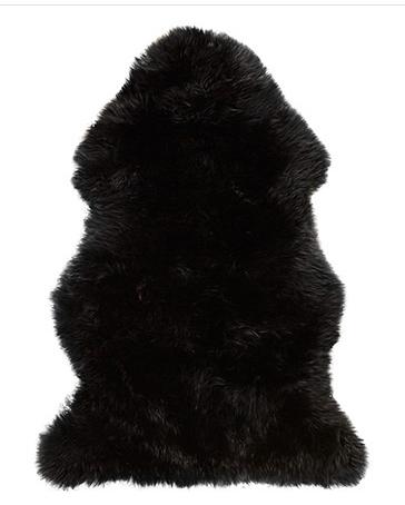SHEEPSKIN SMALL BLACK THROW
