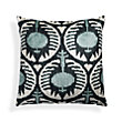 SILK VELVET AQUA IKAT FLOWERED SQUARE PILLOW