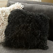 "Tibetan 16"" Square Lambswool Pillow in Black"