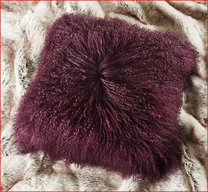 "Tibetan 16"" Square Lambswool Pillow in Plum"