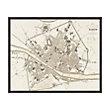 """VINTAGE FLORENCE MAP 63"""" X 51"""" FRAMED PRINT"""