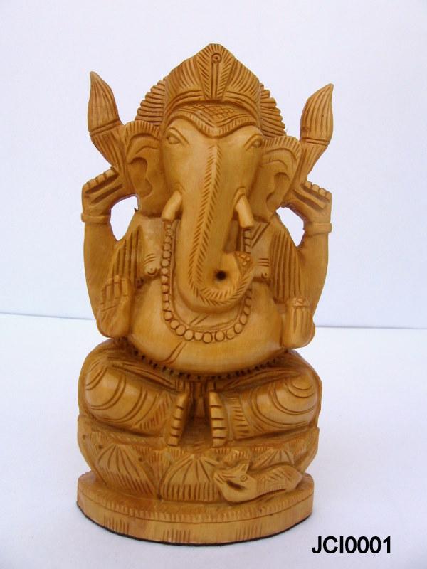 Lord Ganesha White Wood Manufacturer In Jaipur Rajasthan India