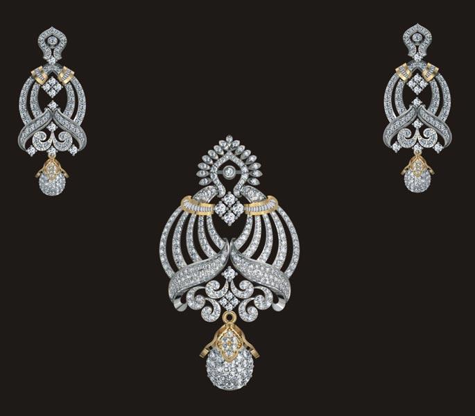 Diamond pendant set manufacturer in mumbai maharashtra india by diamond pendant set aloadofball Image collections