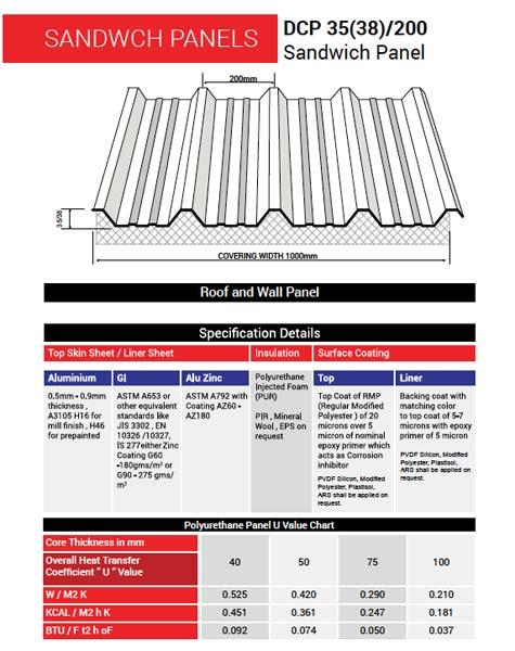 Hi-Rib Insulated Sandwich Panel (DCP 35/200) (DANA STEEL)