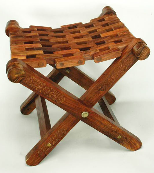 buy wooden folding stool from usha handicrafts saharanpur india