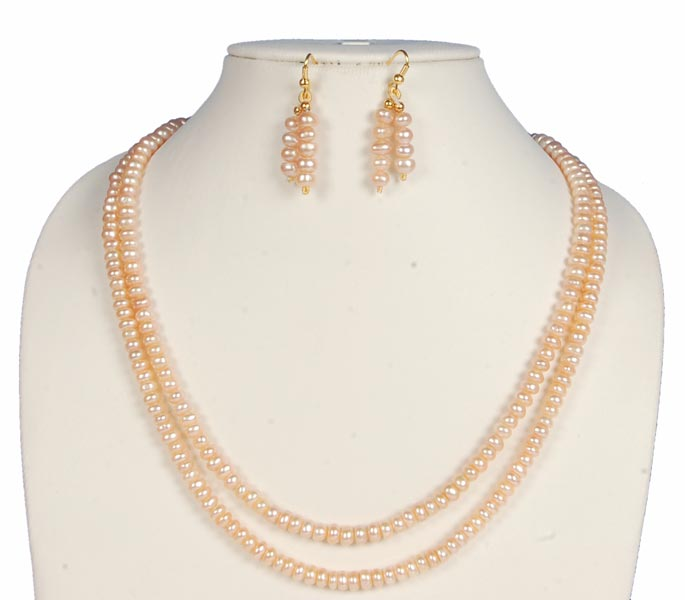 Buy 2 Strings Freshwater Pearl Peach Color Necklace Earring Set From