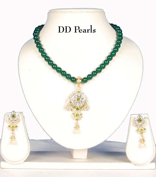 Green Onyx Necklace, Onyx Jewelry Set (OXRGP-1)