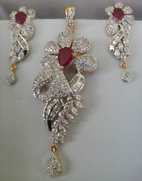 Buy cz diamond looks pendant set ruby diamond looks pendant set cz diamond looks pendant set ruby diamond looks pendant set aloadofball Image collections