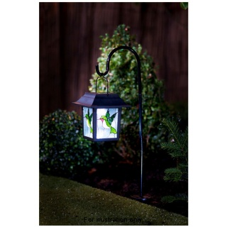 Stained Glass Hanging Lantern with Solar Light - Hummingbird